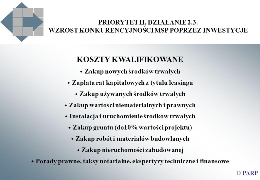 KOSZTY KWALIFIKOWANE PRIORYTET II, DZIAŁANIE 2.3.