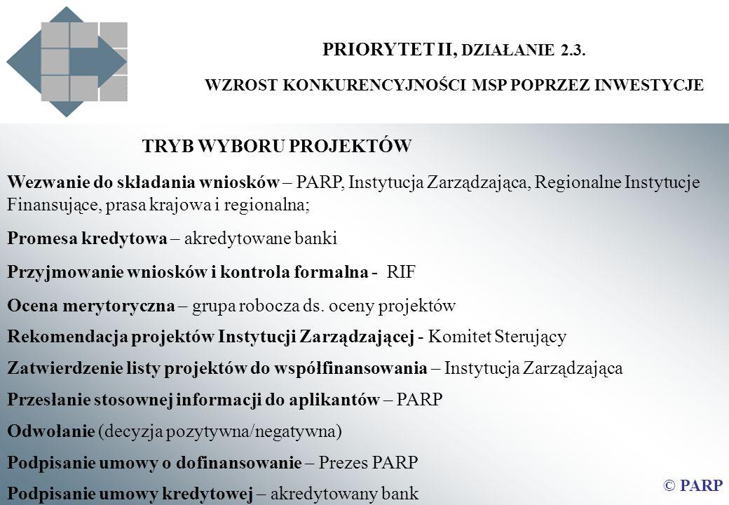 TRYB WYBORU PROJEKTÓW PRIORYTET II, DZIAŁANIE 2.3.