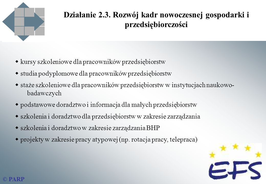 Działanie 2.3. Rozwój kadr nowoczesnej gospodarki i przedsiębiorczości