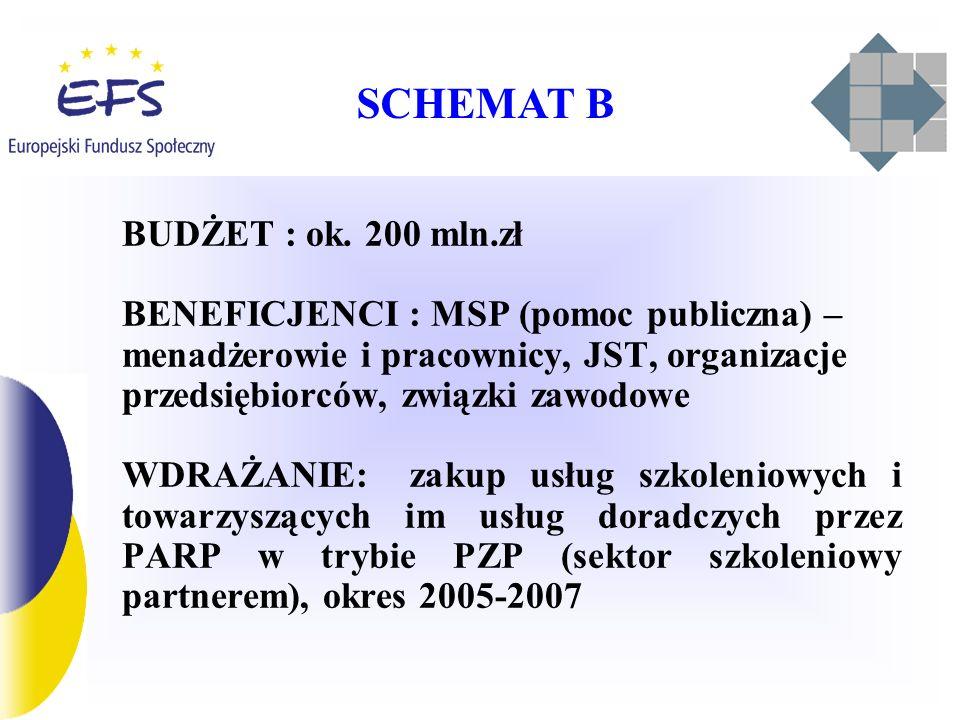 SCHEMAT B BUDŻET : ok. 200 mln.zł.
