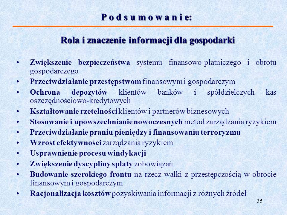 Rola i znaczenie informacji dla gospodarki