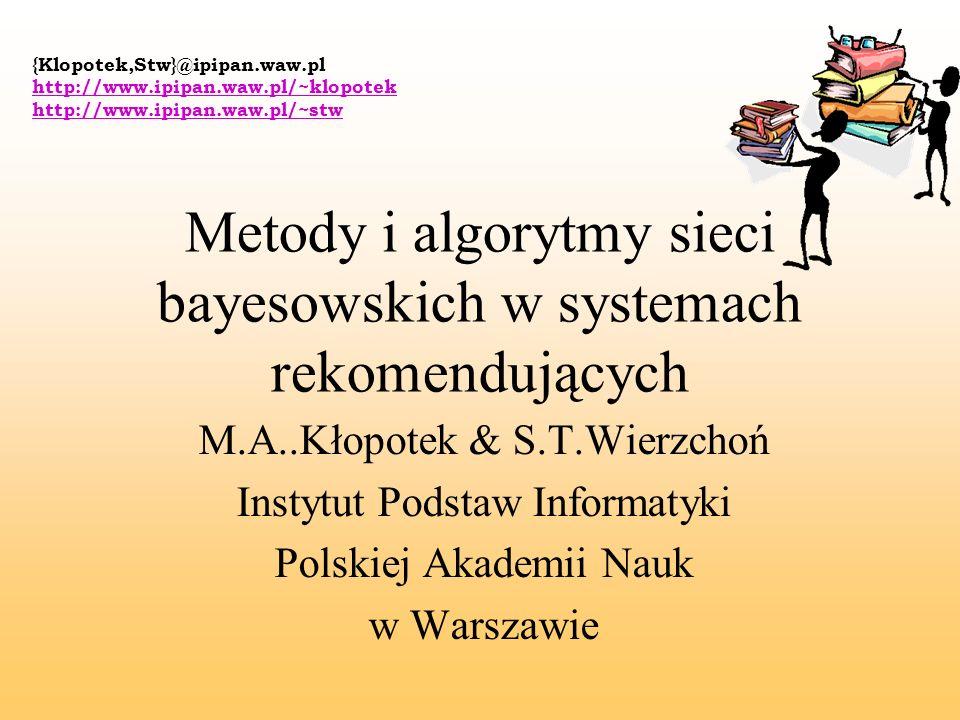 Metody i algorytmy sieci bayesowskich w systemach rekomendujących