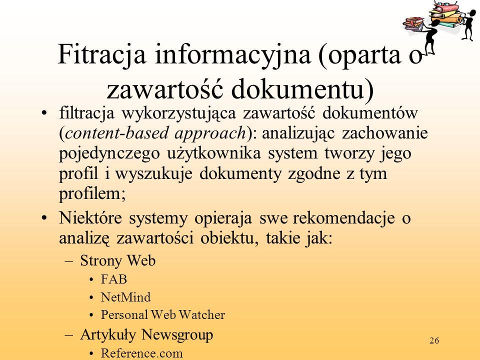 Fitracja informacyjna (oparta o zawartość dokumentu)