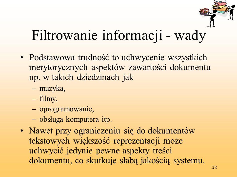 Filtrowanie informacji - wady