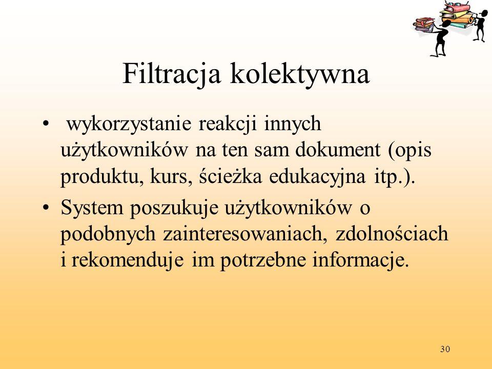 Filtracja kolektywna wykorzystanie reakcji innych użytkowników na ten sam dokument (opis produktu, kurs, ścieżka edukacyjna itp.).