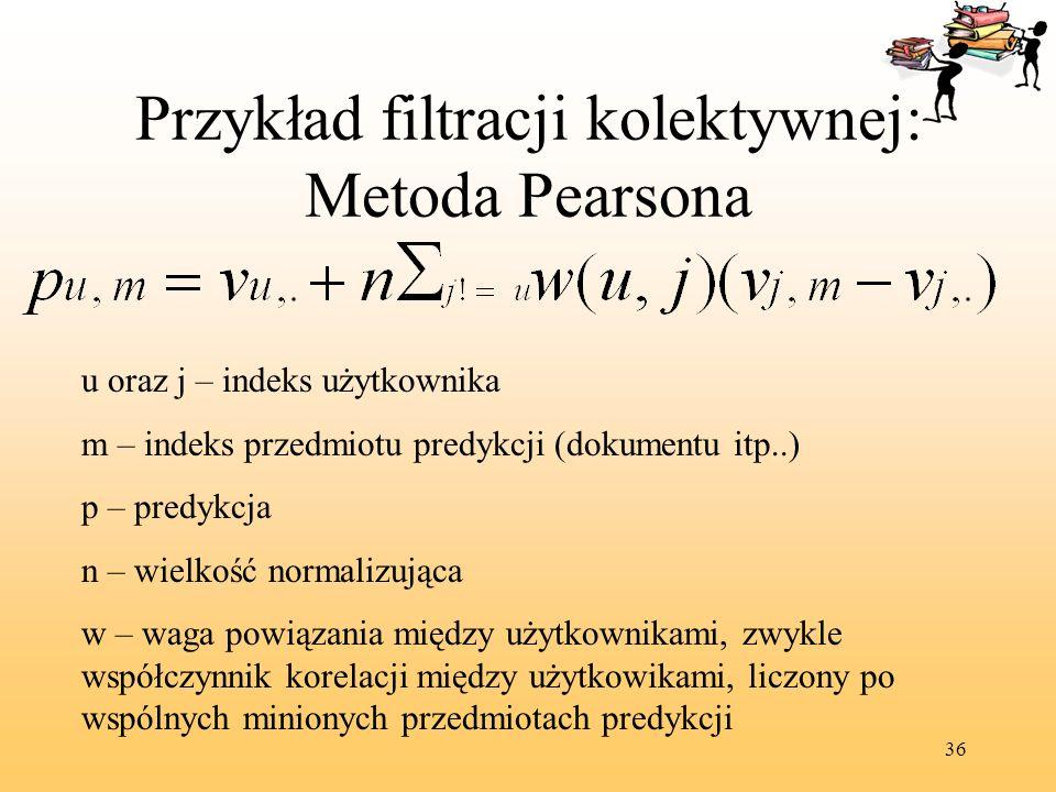 Przykład filtracji kolektywnej: Metoda Pearsona