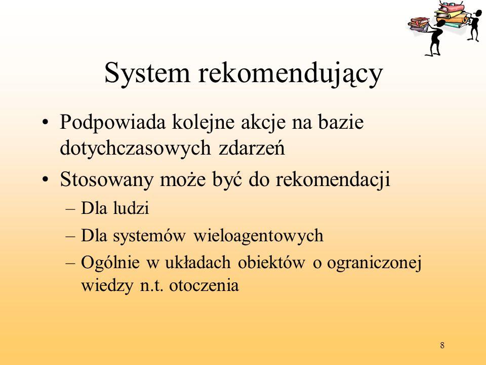 System rekomendujący Podpowiada kolejne akcje na bazie dotychczasowych zdarzeń. Stosowany może być do rekomendacji.