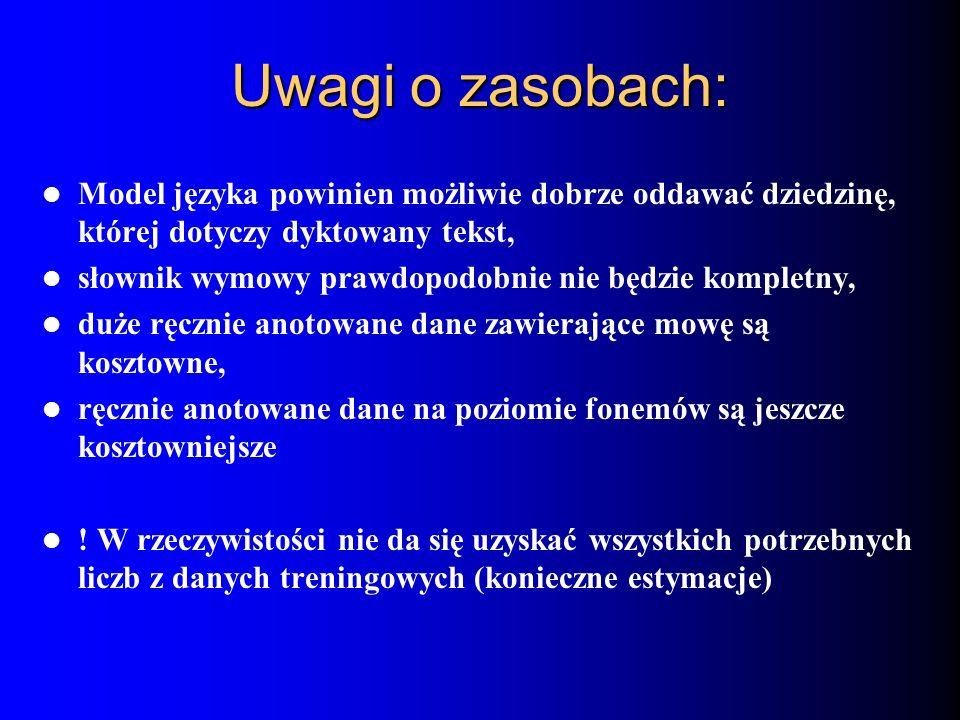 Uwagi o zasobach:Model języka powinien możliwie dobrze oddawać dziedzinę, której dotyczy dyktowany tekst,