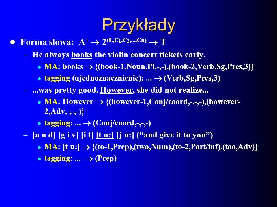 Przykłady Forma słowa: A+ ® 2(L,C1,C2,...,Cn) ® T