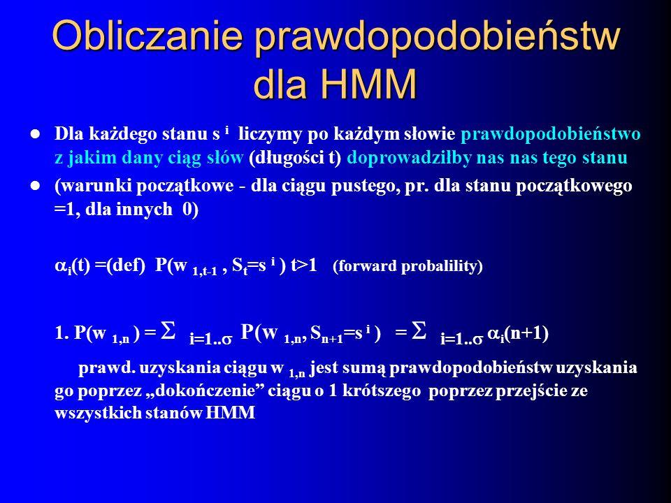 Obliczanie prawdopodobieństw dla HMM