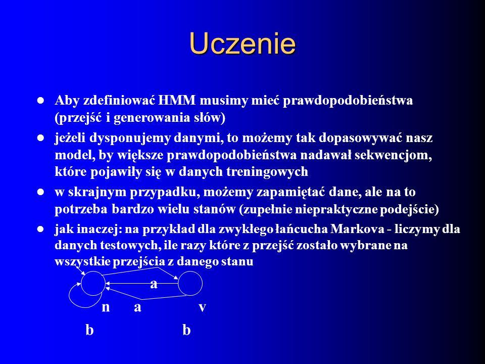 UczenieAby zdefiniować HMM musimy mieć prawdopodobieństwa (przejść i generowania słów)
