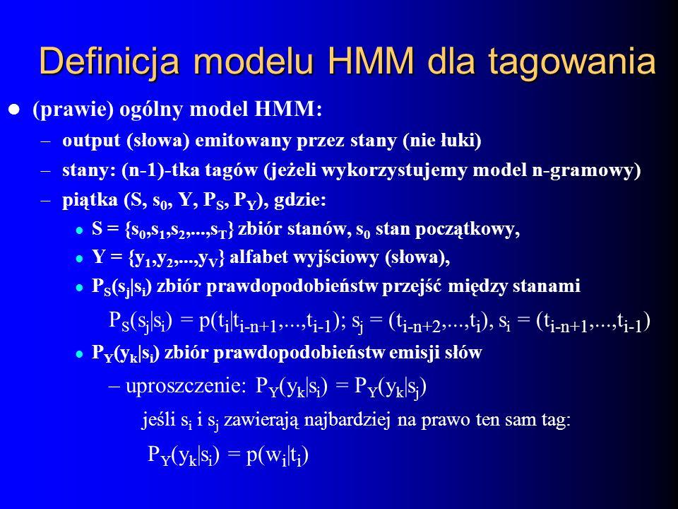 Definicja modelu HMM dla tagowania