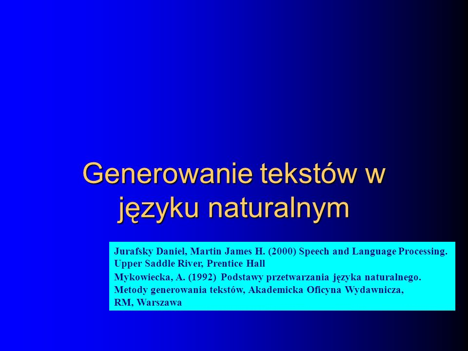 Generowanie tekstów w języku naturalnym