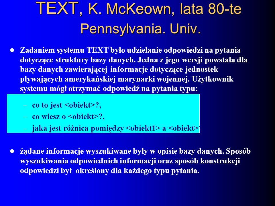 TEXT, K. McKeown, lata 80-te Pennsylvania. Univ.