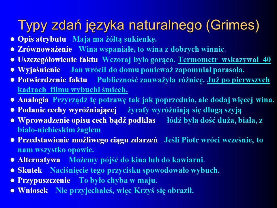 Typy zdań języka naturalnego (Grimes)