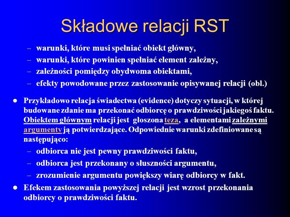 Składowe relacji RST warunki, które musi spełniać obiekt główny,