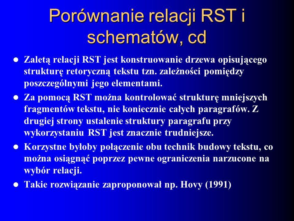 Porównanie relacji RST i schematów, cd