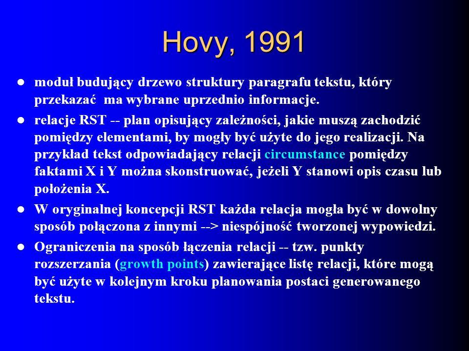 Hovy, 1991 moduł budujący drzewo struktury paragrafu tekstu, który przekazać ma wybrane uprzednio informacje.
