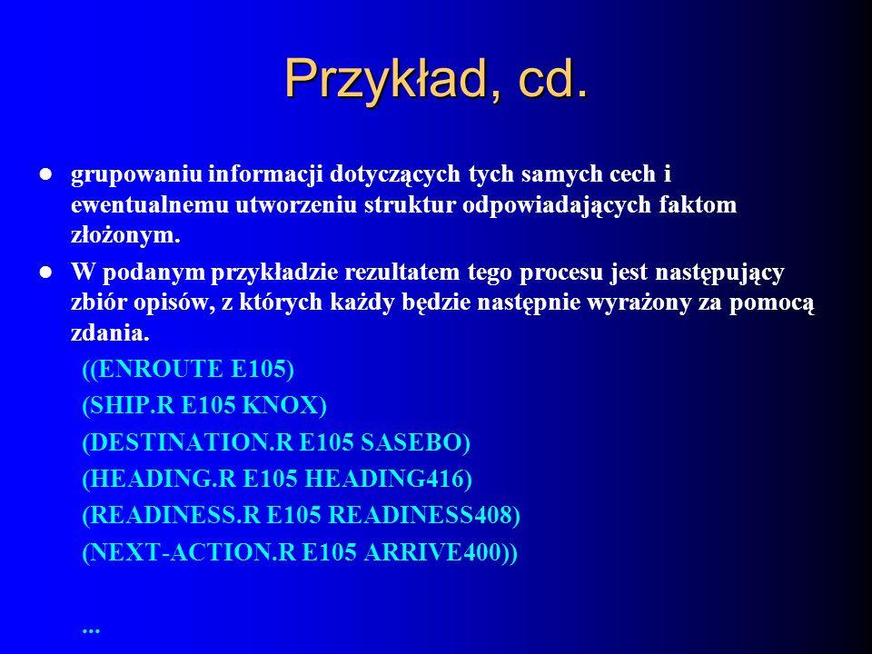 Przykład, cd.grupowaniu informacji dotyczących tych samych cech i ewentualnemu utworzeniu struktur odpowiadających faktom złożonym.