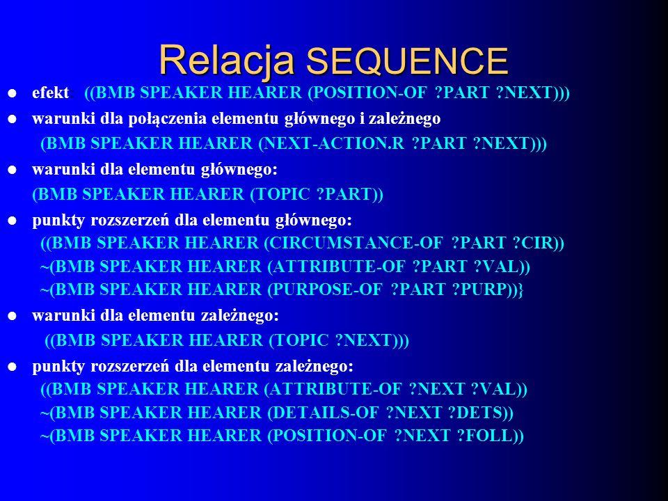 Relacja SEQUENCE efekt: ((BMB SPEAKER HEARER (POSITION-OF PART NEXT))) warunki dla połączenia elementu głównego i zależnego: