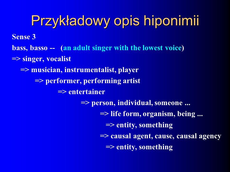 Przykładowy opis hiponimii