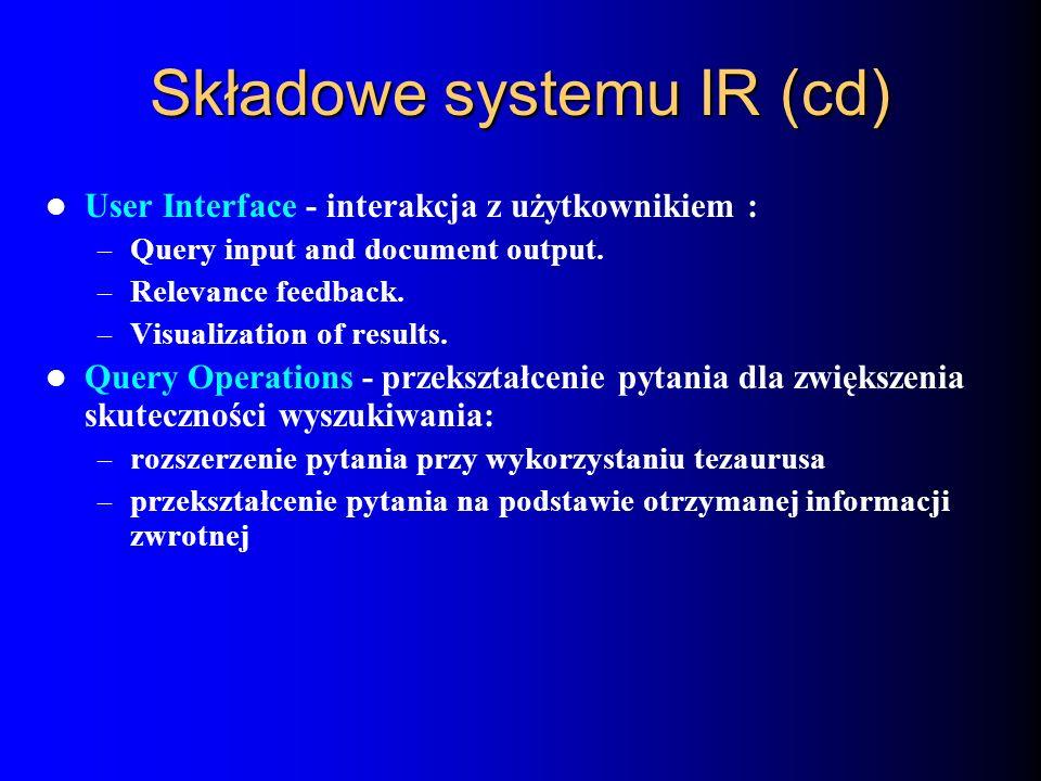 Składowe systemu IR (cd)