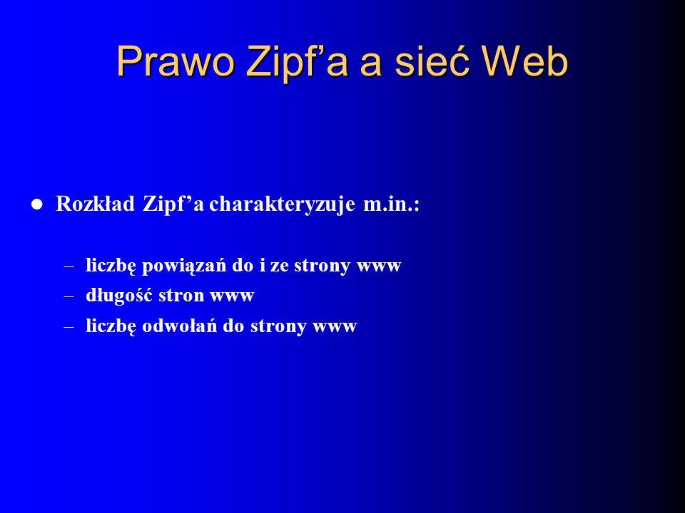 Prawo Zipf'a a sieć Web Rozkład Zipf'a charakteryzuje m.in.: