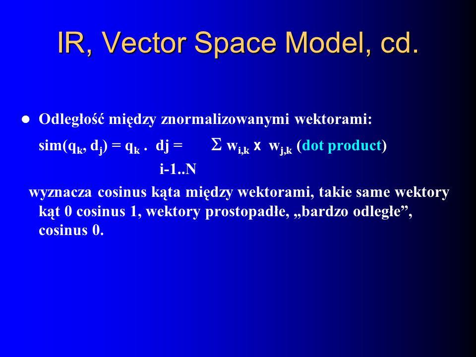 IR, Vector Space Model, cd.
