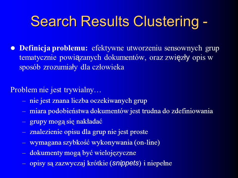 Search Results Clustering -