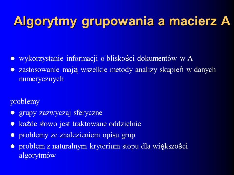Algorytmy grupowania a macierz A