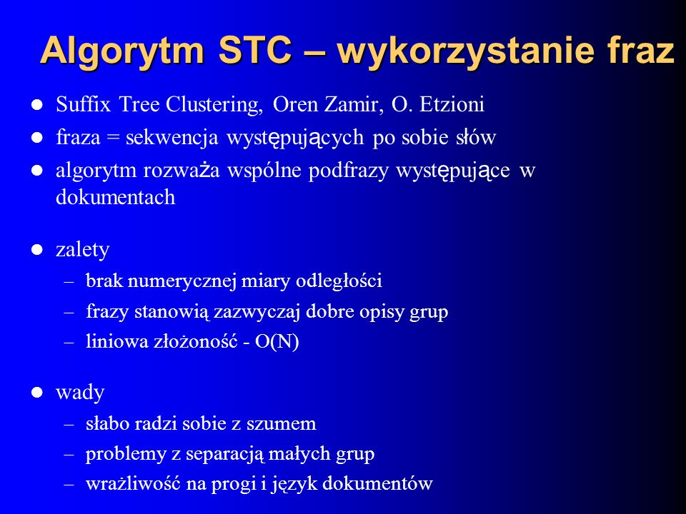 Algorytm STC – wykorzystanie fraz