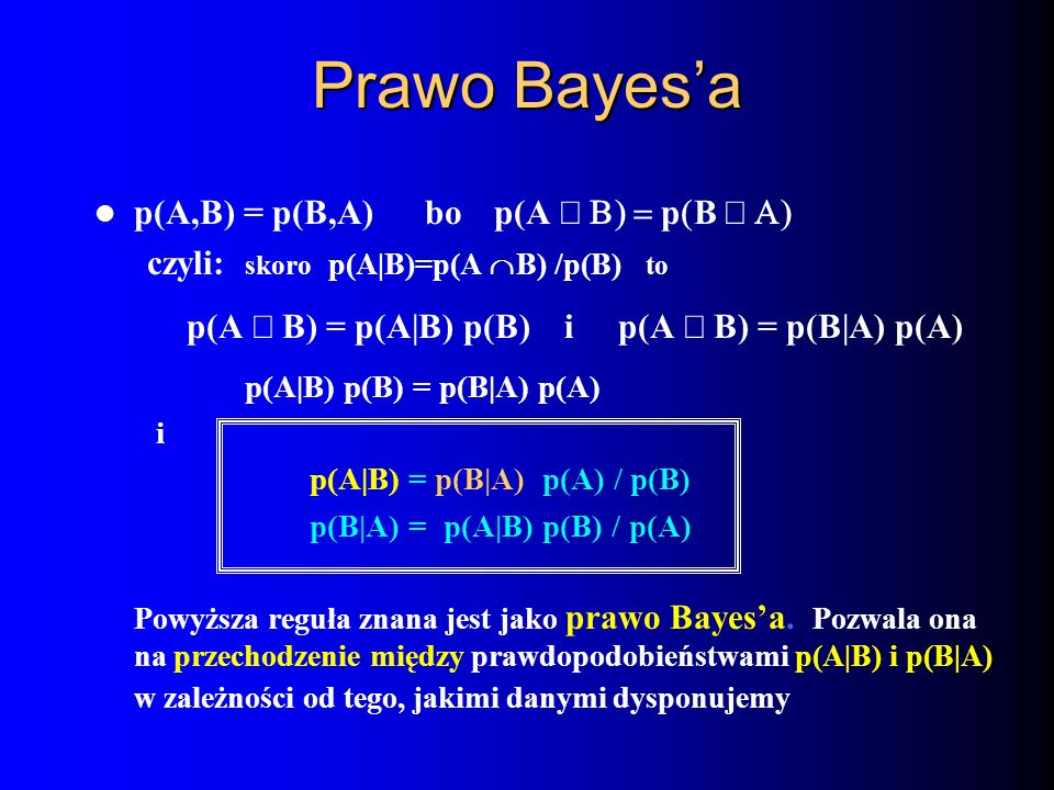 Prawo Bayes'a p(A,B) = p(B,A) bo p(A Ç B) = p(B Ç A)
