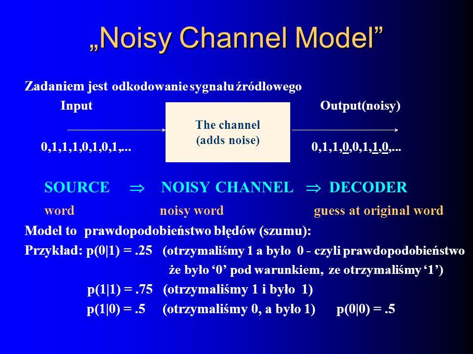 """Noisy Channel Model The channel SOURCE  NOISY CHANNEL  DECODER"