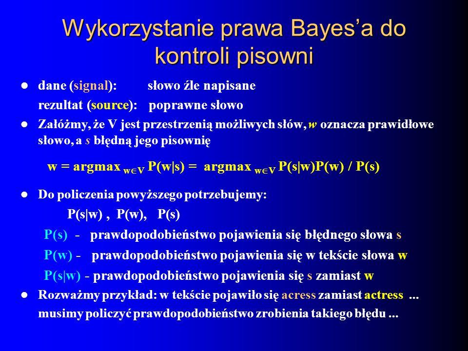 Wykorzystanie prawa Bayes'a do kontroli pisowni