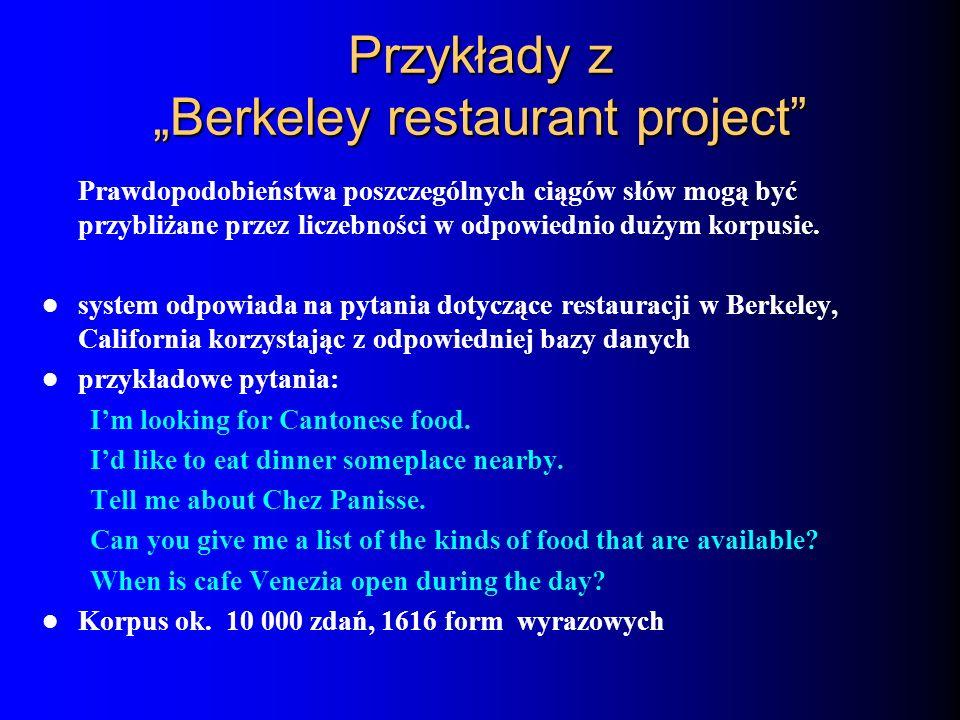 """Przykłady z """"Berkeley restaurant project"""