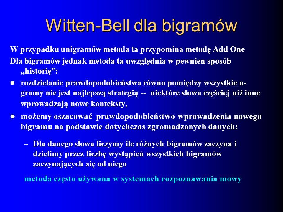 Witten-Bell dla bigramów