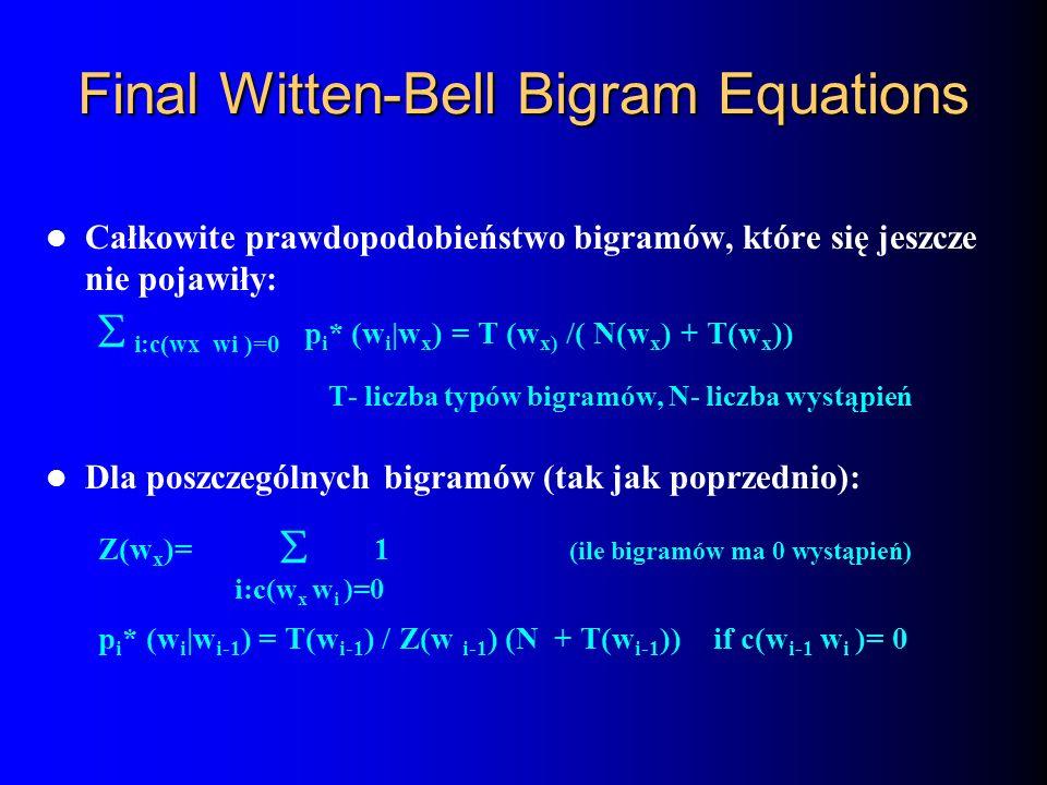 Final Witten-Bell Bigram Equations