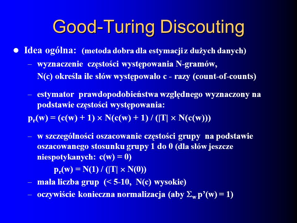 Good-Turing Discouting