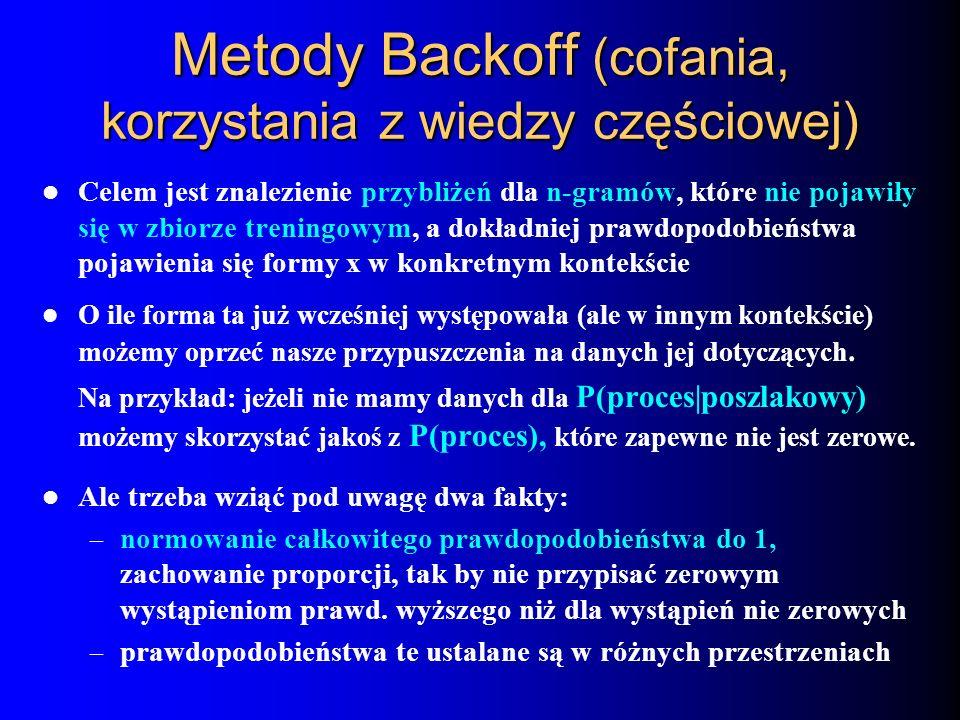 Metody Backoff (cofania, korzystania z wiedzy częściowej)