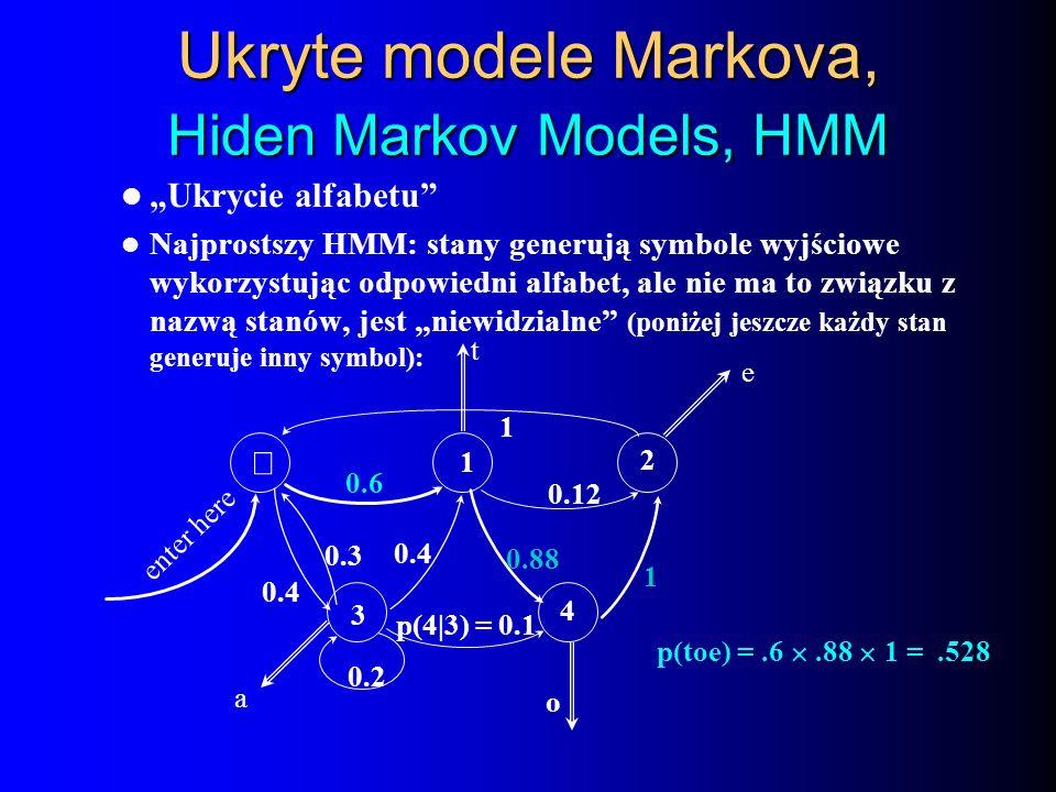 Ukryte modele Markova, Hiden Markov Models, HMM