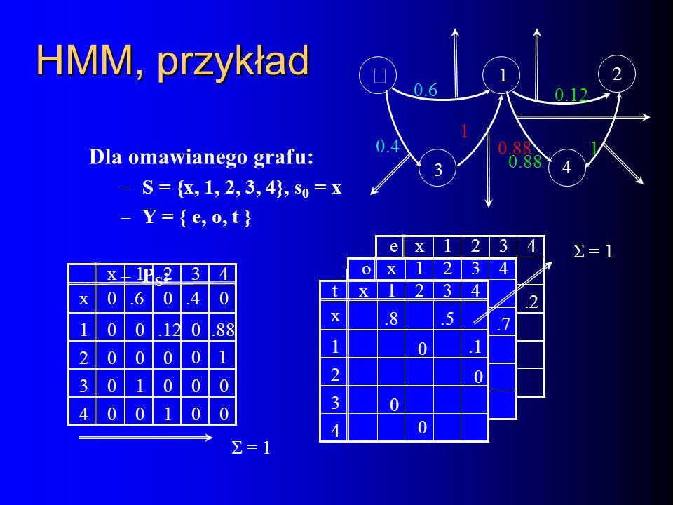 HMM, przykład ´ Dla omawianego grafu: S = {x, 1, 2, 3, 4}, s0 = x