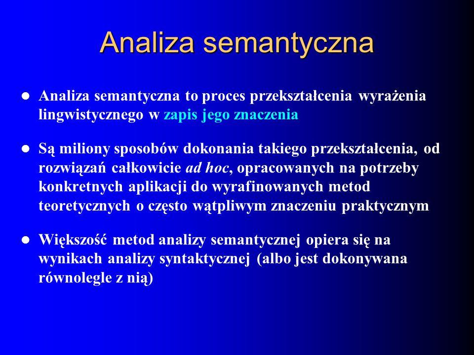 Analiza semantyczna Analiza semantyczna to proces przekształcenia wyrażenia lingwistycznego w zapis jego znaczenia.