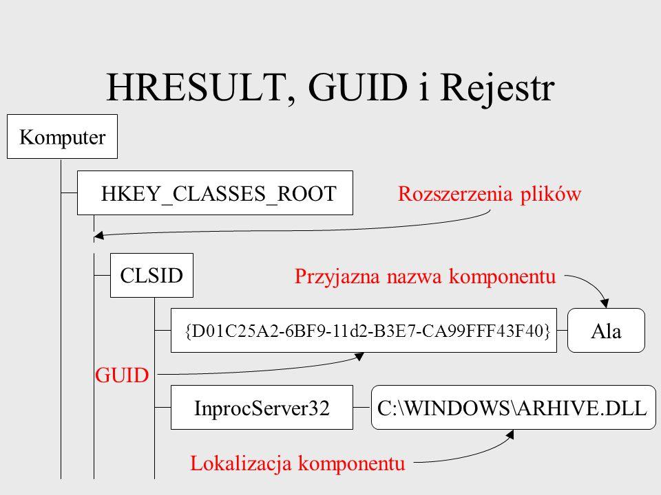 HRESULT, GUID i Rejestr Komputer HKEY_CLASSES_ROOT Rozszerzenia plików