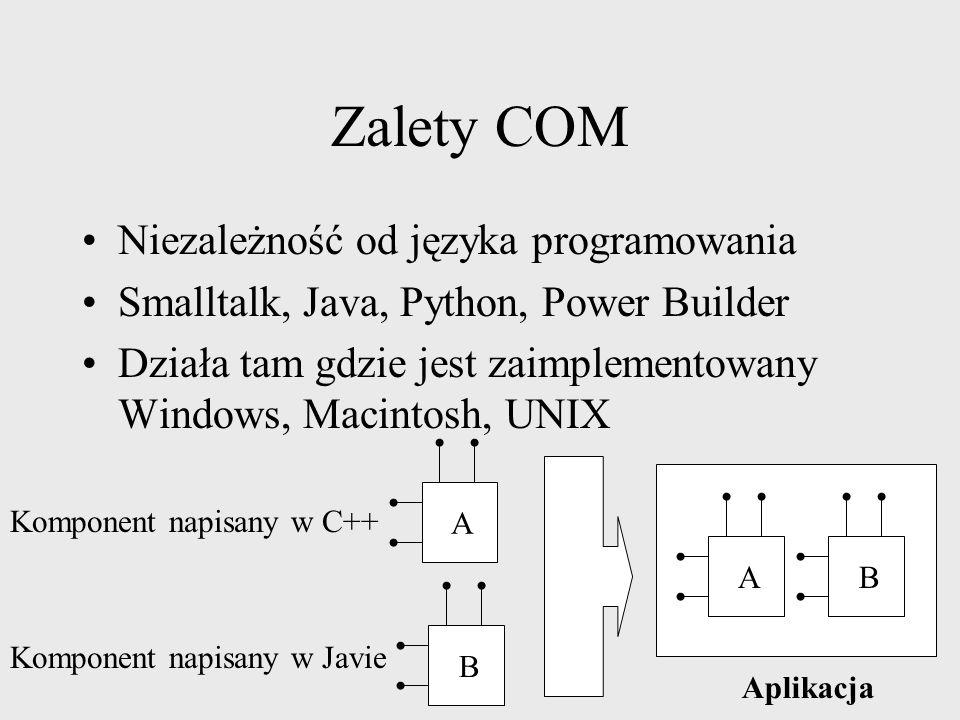 Zalety COM Niezależność od języka programowania