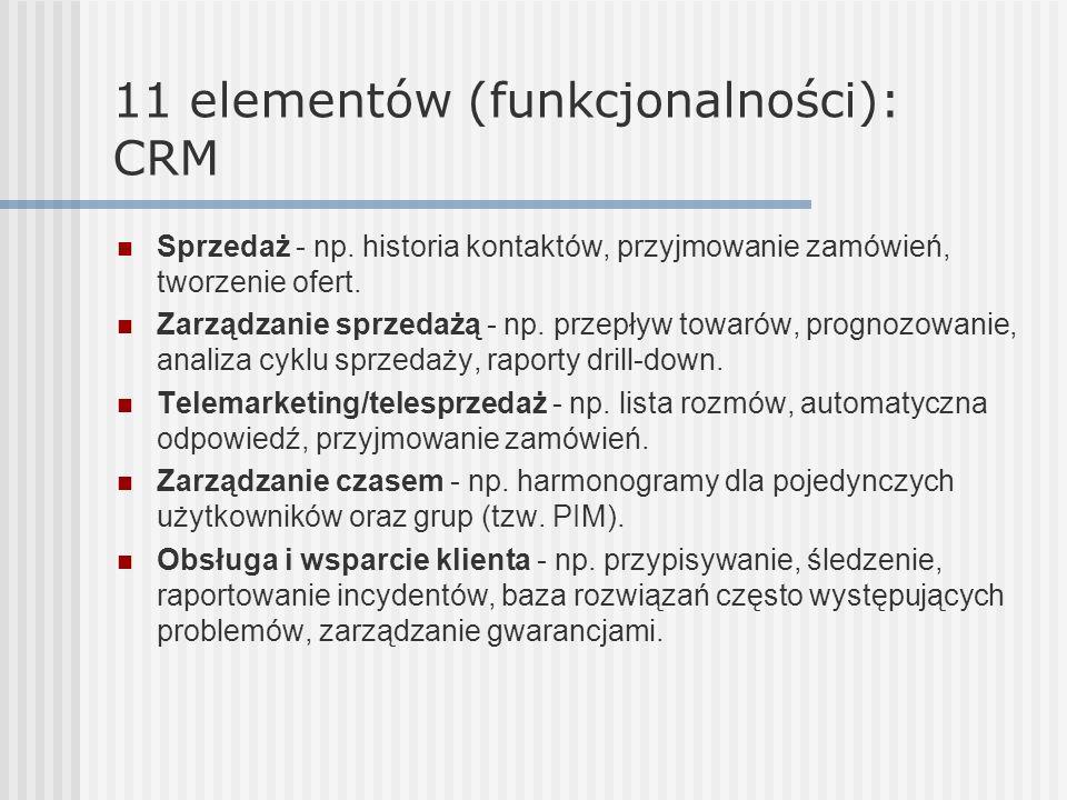 11 elementów (funkcjonalności): CRM