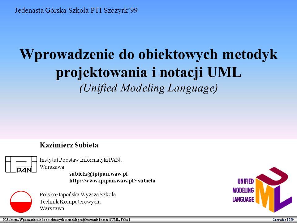 Wprowadzenie do obiektowych metodyk projektowania i notacji UML (Unified Modeling Language)