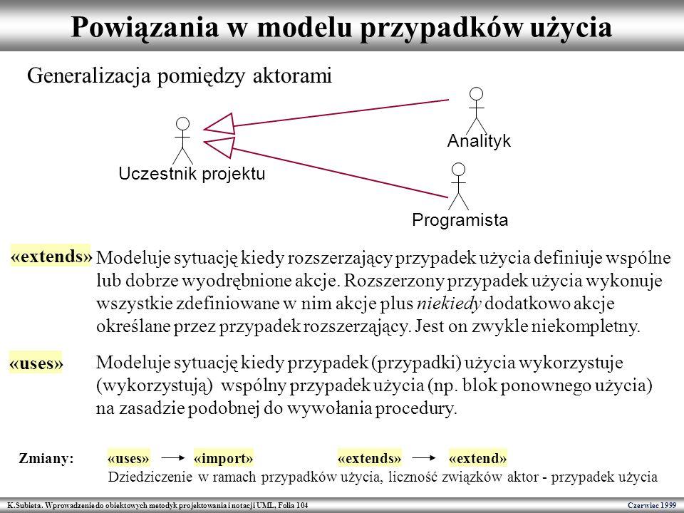 Powiązania w modelu przypadków użycia