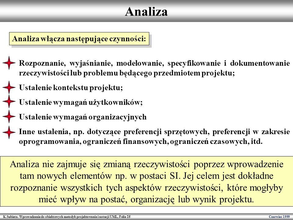 Analiza Analiza włącza następujące czynności: