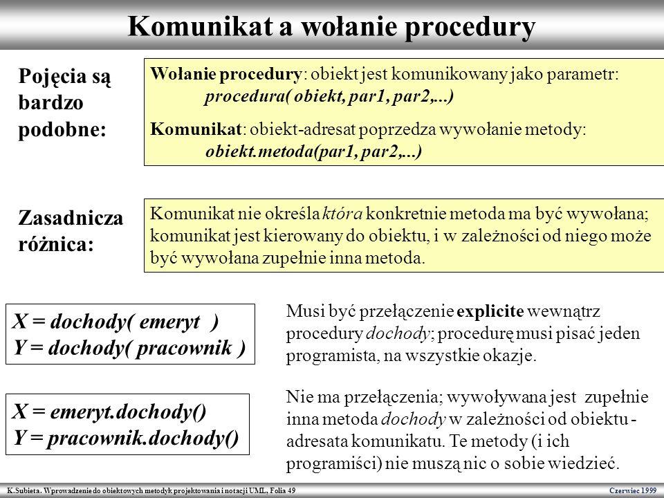 Komunikat a wołanie procedury