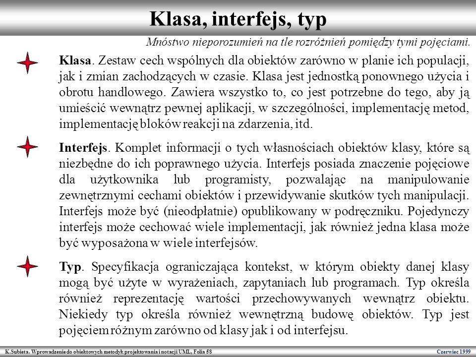 Klasa, interfejs, typ Mnóstwo nieporozumień na tle rozróżnień pomiędzy tymi pojęciami.